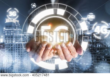 Success Businessman Hold 5g Technology Evolution 4g, 3g, 2g, 1g, Connection Online Network With High