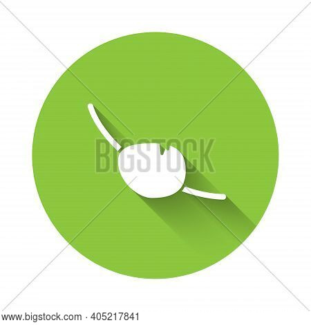 White Pirate Eye Patch Icon Isolated With Long Shadow. Pirate Accessory. Green Circle Button. Vector