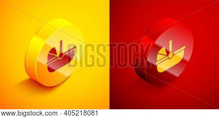 Isometric Baby Stroller Icon Isolated On Orange And Red Background. Baby Carriage, Buggy, Pram, Stro