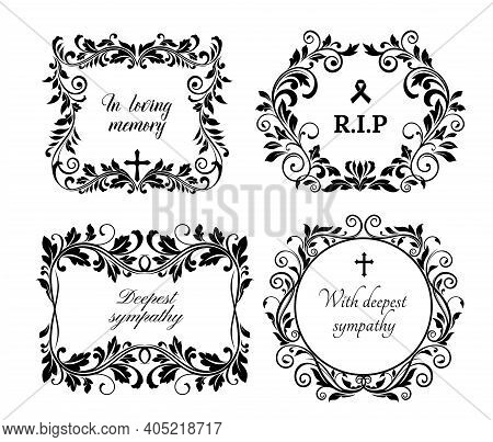Funeral Memory And Condolences Cards For Obituary And Death Grief Black Banner, Vector Floral Wreath