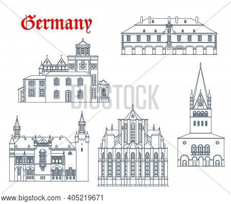 Germany Landmark Buildings And Travel Icons, Aachen Churches Architecture Vector Icons. Germany Land
