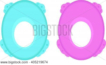 Toilet Seat For Children, Vector. Toilet Seat Cover In Pink And Blue.