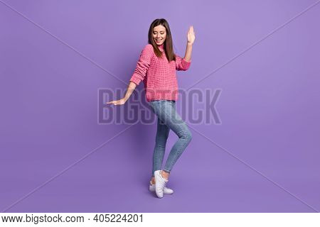 Full Length Body Size Photo Of Energetic Pretty Dancing At Discotheque Smiling Woman Isolated On Bri