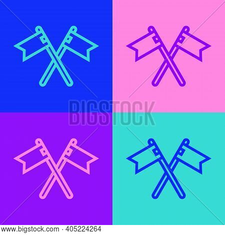 Pop Art Line Crossed Medieval Flag Icon Isolated On Color Background. Country, State, Or Territory R