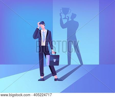 Abstract Concept Of Self Belief And Self Confidence. The Businessmans Shadow Helps Him Maintain Fait