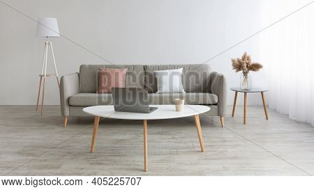 Home Office For Remote Work And Place For Relax At Home. Gray Sofa With White And Pink Pillows, Beau