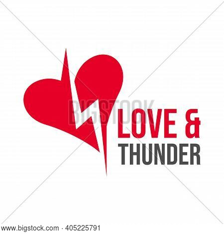 Heart Or Love & Thunder Typography Symbol Logo Design. Love And Thunder Icon Or Symbol In Blank Spac