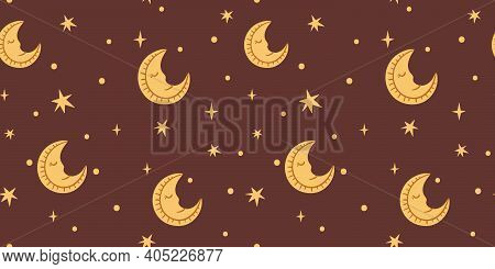 Celestial Boho Kids Seamless Pattern With Yellow Sleepy Moon And Stars, Celestial Night Sky Digital
