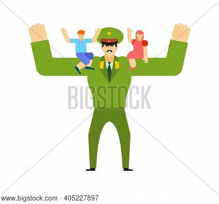 Strong Military Dad With Children. Illustration For 23 February. Defenders Of Fatherland Day.
