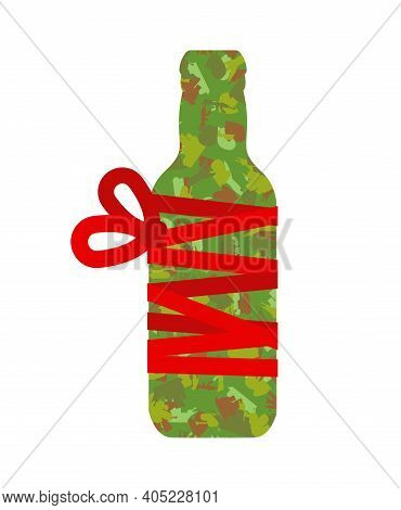 Bottle Beer Gift Wrapped. Traditional Gift For Men On Day Of Defender Of Fatherland In Russia Februa