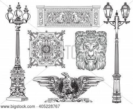 Hand Drawn Sketch Set Of Urban Decorative Architectural Elements Lanterns And Lattices. Vector Illus
