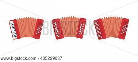 Set Of Chromatic Button Accordions Or Russian Bayan, Diatonic Melodeon And Piano Accordion, Harmonic