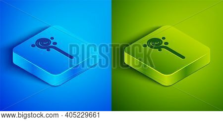 Isometric Line Magic Staff Icon Isolated On Blue And Green Background. Magic Wand, Scepter, Stick, R