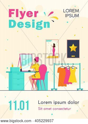 Celebrity Preparing For Show In Makeup Room. Woman At Mirror, Dresses On Hangers Flat Vector Illustr