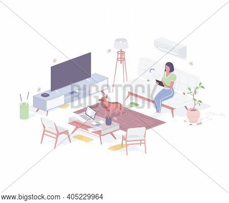 Woman Customize Smart Home Technology Isometric Concept. Female Character With Innovation Tablet Che