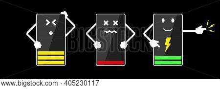 Mobile Phone Charging Funny Cartoon Character. Flat Vector Illustration Isolated On Black.