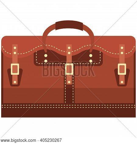 Leather Handheld Bag Isolated On White Background