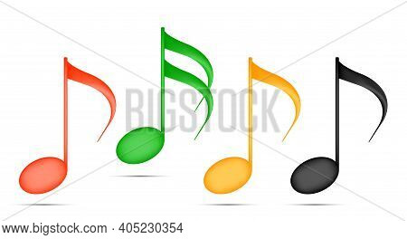 Colored Musical Notes Isolated. 3d Cartoon Vector Illustration.