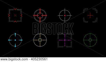 Sniper Scopes, Crosshair Icon Set. Optical Sight. Military Optical Instrument. Flat Vector Illustrat