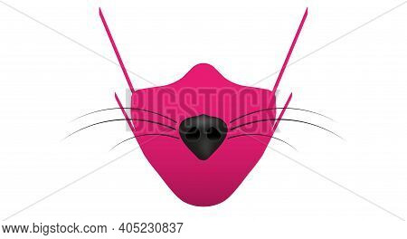 Female Medical Mask With Fox Nose And Mustache. 3d Cartoon Vector Illustration.