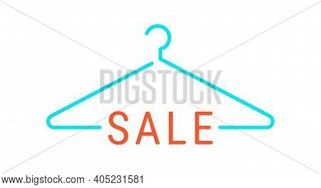 Discount On Clothes, Hanger. Flat Vector Illustration Isolated On White.