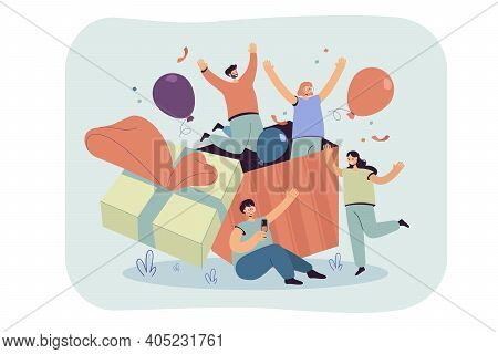 Group Of Friends Celebrating Birthday, Jumping Out Of Gift Box With Confetti And Balloons. Vector Il