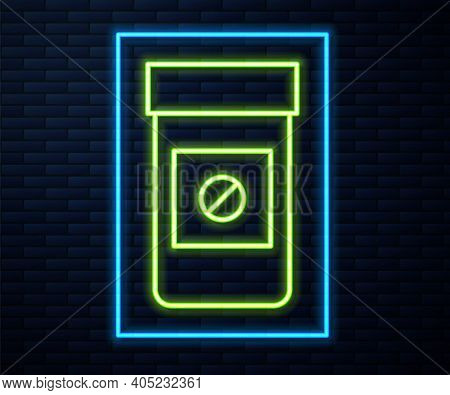 Glowing Neon Line Sports Doping, Anabolic Drugs Icon Isolated On Brick Wall Background. Anabolic Ste