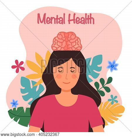 Brain In Woman Head Opened With Leaves And Flower On Background. Mental Health Concept Vector Illust