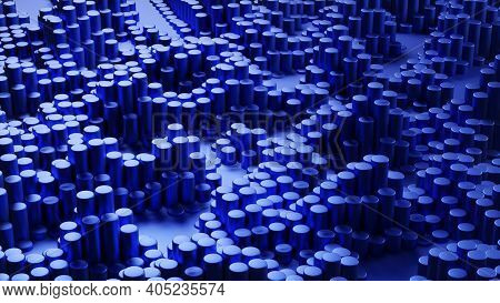 Abstract Dark Blue Metal Cylinders. 3d Render Of Big Data. Technology Concept. Futuristic Background
