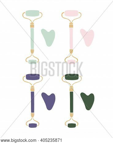Vector Set Bundle Of Different Color Hand Drawn Doodle Sketch Gua Sha Face Massage Roller Isolated O