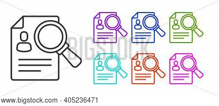 Black Line Document, Paper Analysis Magnifying Glass Icon Isolated On White Background. Evidence Sym