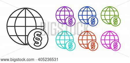 Black Line International Law Icon Isolated On White Background. Global Law Logo. Legal Justice Verdi
