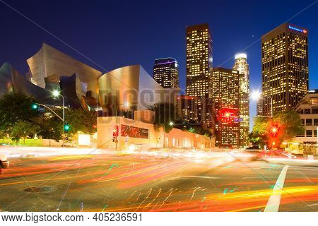 Los Angeles, California, United States - December 9, 2008: Cityscape Of Downtown Los Angeles With Th