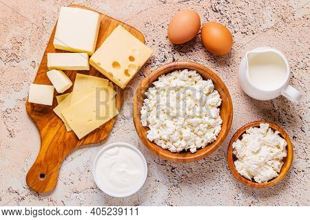 Different Types Of Dairy Products. Top View.