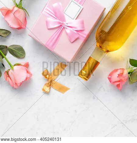 Giftbox And Pink Rose For Valentine's Day Holiday Gift Design Concept.