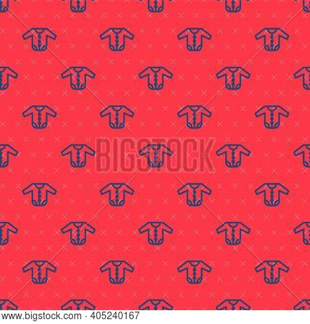 Blue Line Baby Clothes Icon Isolated Seamless Pattern On Red Background. Baby Clothing For Baby Girl
