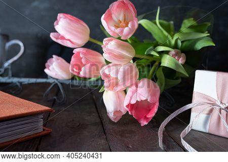Atmospheric Mothers Day Decoration With Lovely Pink Tulips And A Gift Box On Dark Vintage Wood. Shor