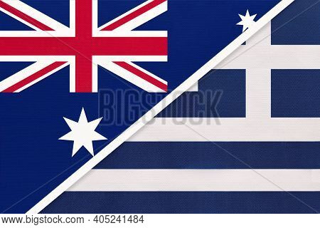 Australia And Greece Or Hellenic Republic, National Flags From Textile. Relationship, Partnership An