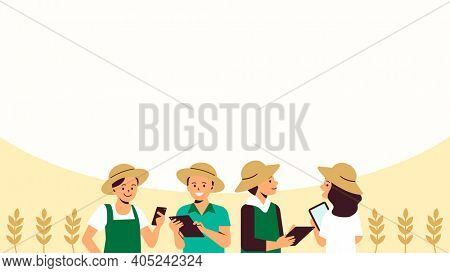 Smart farming community digital agriculture background illustration