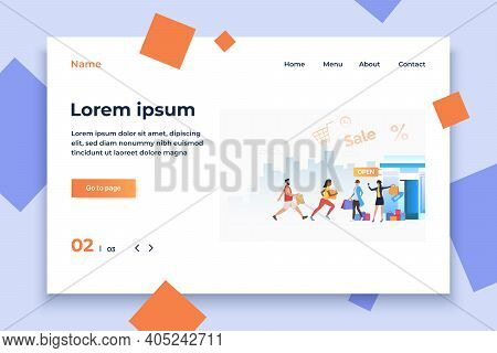 Customers Hurrying To Sale. Male And Female Cartoon Characters Running To Opened Store. Vector Illus