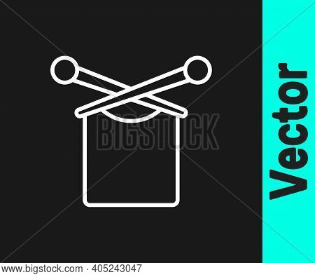 White Line Knitting Icon Isolated On Black Background. Wool Emblem With Knitted Fabric And Needle. L