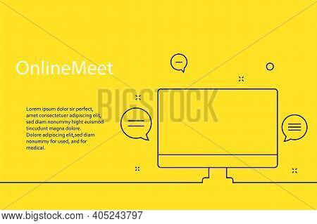 Online Webinar, Meeting. Banner In Yellow Background For Announcements Of Webinars, Web Meetings, On