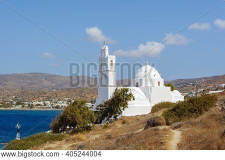 The Church Of Agia Irini (saint Irene) Near The Port Of Ios. The Church Was Built In The 17th Centur
