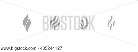 Smoke Vector Flat Vapour Graphic Smell Evaporation Fragance Steam Collection Isolated On White Backg