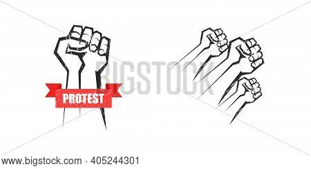 Fist Vector Demonstration, Arm Of Activist Hand Riot Angry Gesture Grunge Vector Isolated Illustrati