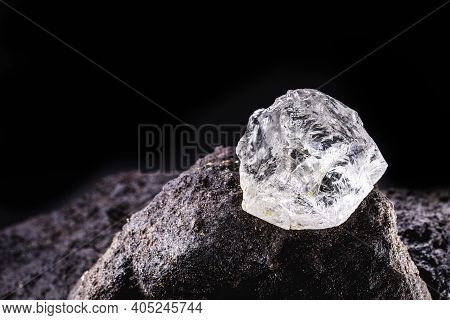 Rough Diamond, Uncut Gemstone, Mine Bottom. Concept Of Mining And Extraction Of Rare Ores.