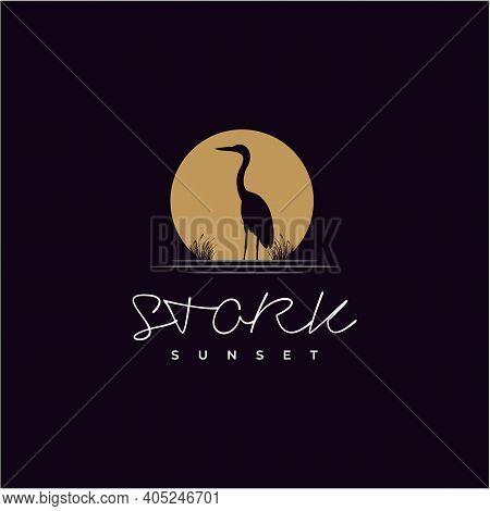 Stork Heron Bird On River Lake Creek Sunset Logo Design