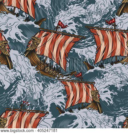 Viking Drakkar Ships Colorful Seamless Pattern In Vintage Style With Medieval Scandinavian Warships