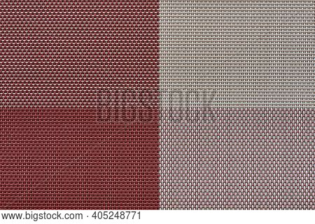 Macrotexture Of Fabric Or Coarse Textile Material Close-up With Symmetric And Identical Mesh Plexus