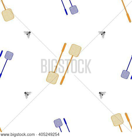 Seamless Vector Pattern. Fly And Fly Swatter. Isolated On White.